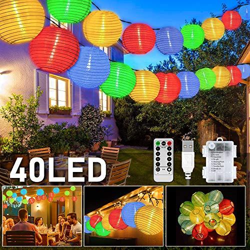 LED Lampion Lichterkette Außen, 40er 8 Modi Lampion LED Lichterketten, USB/Batteriebetriebe und IP65 Wasserdicht LED Laterne Lichter Dekoration mit Timer für Garten, Hof, Hochzeit, Fest Deko