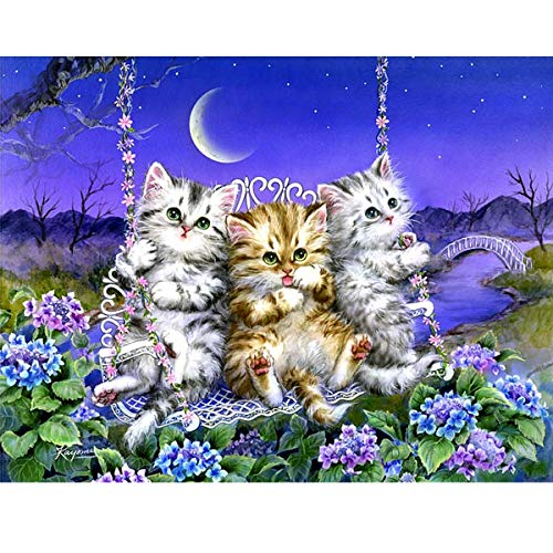 MXJSUA 5D Diamond Painting Kit Full Drill Arts Craft Canvas Supply for Home Wall Decor Adults And Kids Three Little Cats 30x40cm
