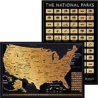 2 in 1ギフトセット スクラッチオフ米国地図と62国立公園ポスター 24 x 16 額に入れやすい アメリカポスター Globetrotters 壁マップ ブラックとゴールド 旅行トラッカー