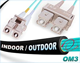 3M OM3 LC SC Fiber Patch Cable | Indoor/Outdoor 10Gb Duplex 50/125 LC to SC Multimode Jumper 3 Meter (9.84ft) | Length Options: 0.5M-300M | FiberCablesDirect - Made In USA | mmf lc-sc in/out sc/lc 10g