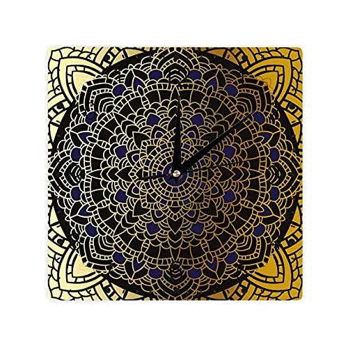 Gran detalle redondo y vintage Mandala Lotus inspirado étnico color cuadrado morden reloj Slient