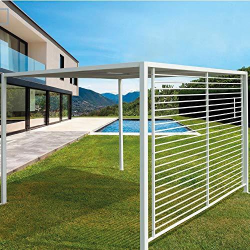Gazebo per Giardino o Terrazzo in Alluminio Colore Bianco con Telo in Tessuto a Pannelli Scorrevoli Metri 2,8 x 2,8 Altezza 220 cm