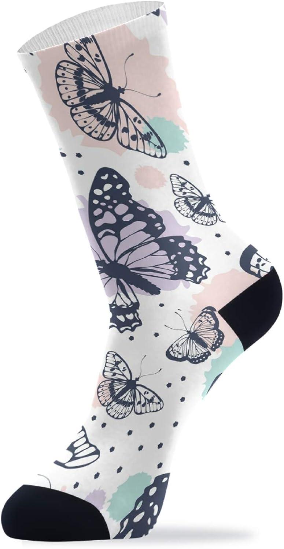 ZZAEO Beautiful Butterfly Pattern Crew Socks, 1 Pair Unisex Novelty Casual Socks For Women Men Gifts