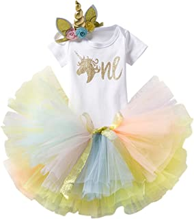 ODASDO Unicorn Birthday Outfit for Baby Girl First Birthday Shiny Print Short Sleeve Romper Tutu Skirt Headband Set