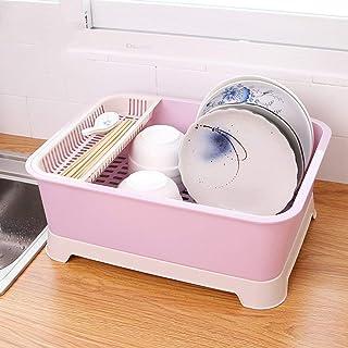 MU Ménage Boîte de Rangement Portable Vaisselle en Plastique de Cuisine en Bois Massif Vaisselle multifonctionnelle à Couv...