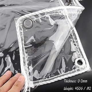 YLJYJ Toldo Transparente de Lona Impermeable PVC Altamente Transparente de 0,3 mm, 450 g / m2, Almohadilla a Prueba de Humedad Larga Vida útil, 44 tamaños (Color: Transparente, Tamaño: 1