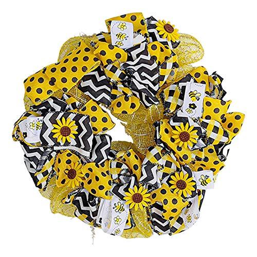 Frh Corona de girasol artificial para puerta delantera, boda, decoración del hogar