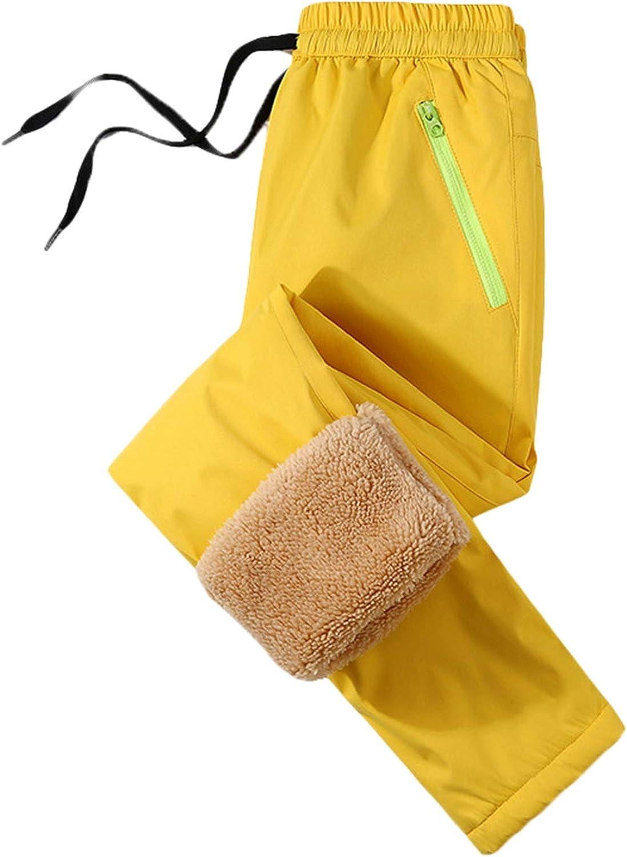 Kids Children Snow Pants Thermal Waterproof Skiing Pants Berber Fleece Windproof Ski Outfit with Zipper Pocket