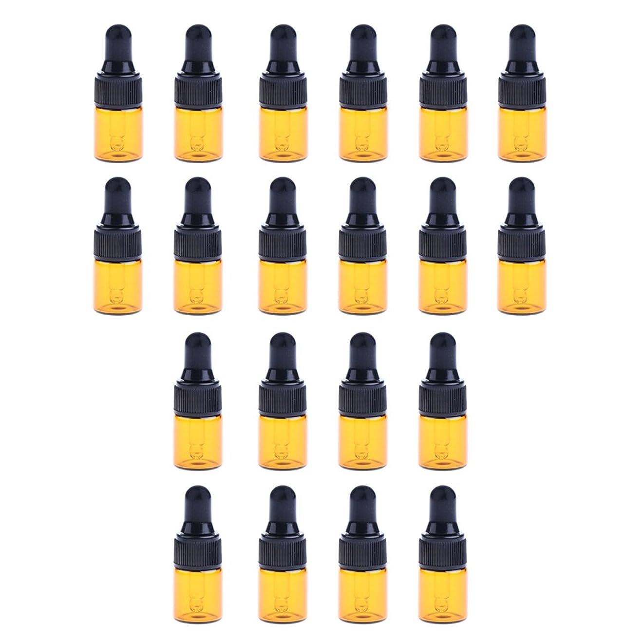 導出仮定するひばりCUTICATE 約20個 ガラスボトル コスメ用 スポイトボトル ガラス瓶 香水 オイル 詰替え 旅行 3サイズ選べ - 1ML