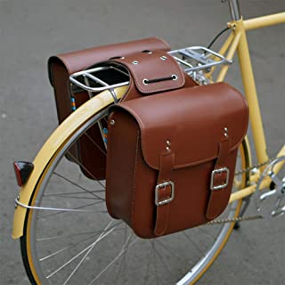 NANDAN Retro Fahrrad Rücksitz Gepäck, Leder PU Wasserdicht 19.5L Reiten Mountainbike Motorrad Satteltasche Fahrrad Rucksack Regaltasche, Braun