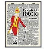 Hamilton Musical Merch - King George Hamilton Poster - Hamilton Lyrics - Lin-Manuel Miranda Merchandise - Revolutionary War American History Gift - Upcycled Dictionary Wall Art Decor