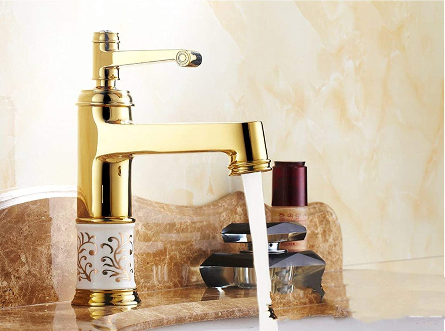 redOOY Bathroom Sink Taps European Copper Basin Faucet bluee And White Porcelain gold Antique Faucet?Hot And Cold Water Faucet?European bluee And White Porcelain Faucet gold