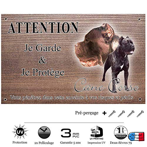 Pets-Easy.com Panneau Attention au Chien personnalisée Cane Corso - pré percée et vis proposées. De 30 cm à 15 cm…