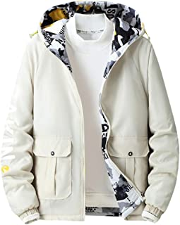 Rosatro Men's Winter Fashion Pure Color Jacket Double-Sided Hoodie Sweatshirt Sports and Casual Track Zipper Outwear Coat