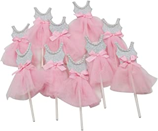 Mybbshower Pink Silver Ballerina Cupcake Toppers for Tutu Birthday Party Baby Girl Shower Decorations Pack of 10