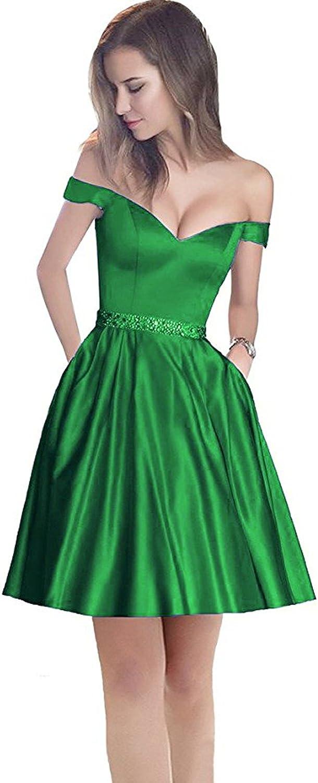Ellenhouse Women's ALine Beaded Satin Short Prom Homecoming Dresses EL493