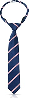 Luther Pike Seattle Boys Pre Tied Zipper Ties For Boys Woven Boy Tie: Kids Aged 4-7 & 8-10 Wedding, Graduation, Uniform