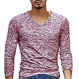 Kobay Hommes Solide T-Shirt à Manches Longues Et Col en V Haut(FR-54/CN-XXL,Rouge)