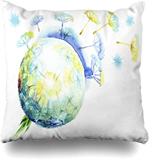 Ahawoso Throw Pillow Cover Ease Blue Blowing Fluffy Dandelion Dispersing Seeds Watercolor Sphere Nature Air Clip Color Delicate Home Decor Cushion Case Square Size 16