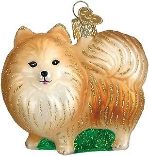 Old World Christmas Glass Blown Pomeranian w/ Green Ornament