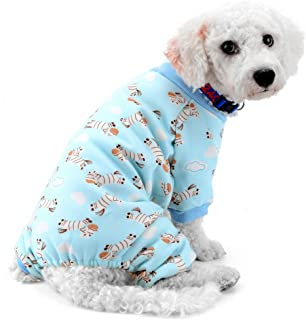 SMALLLEE_LUCKY_STORE Zebra Print Pijamas de Perro Ropa de Perro para Perros pequeños Pijamas de Perro Mono de Perro Atuendo de Gato Pijama Cachorro Azul M
