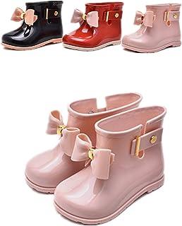 Baiyouli Stivali impermeabili in gomma per piedi larghi con BOW-TIE per bambini piccoli bambini grandi da 19 a 31 anni e da 0,5 a 6