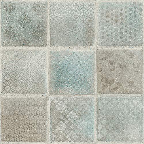 Vliesbehang Tegeltjes behang Tegel behang Blauw Grijs Groen 373881 37388-1 A.S. Création Neue Bude 2.0 Edition 2 | Blauw/Grijs/Groen | Sample (21 x 29,7 cm)