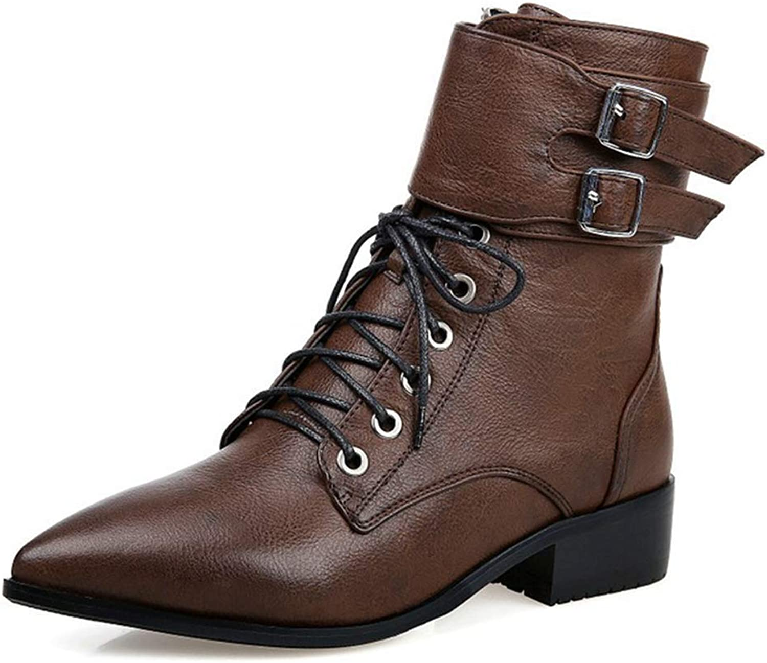 GIY Women's Chelsea Buckle Ankle Boots Combat Pointed Toe Lace Up Zip Low Heel Western Riding Short Bootie