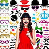 60 Pieces Photo Booth Props DIY Kit Funny Selfie Props Accessories for Wedding Photobooth Party Supplies Favors with Mustache on a Stick, Hats, Glasses, Mouth, Bowler, Bowties