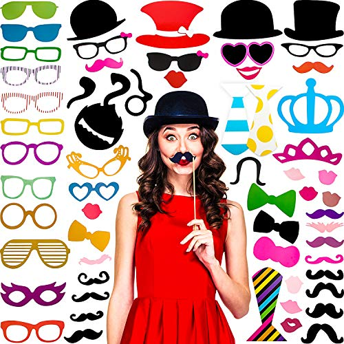 60 Pieces Photo Booth Props DIY Kit Funny Selfie Props Accessories for Wedding Photobooth Party Supplies Favors with Mustache on a Stick  Hats  Glasses  Mouth  Bowler  Bowties