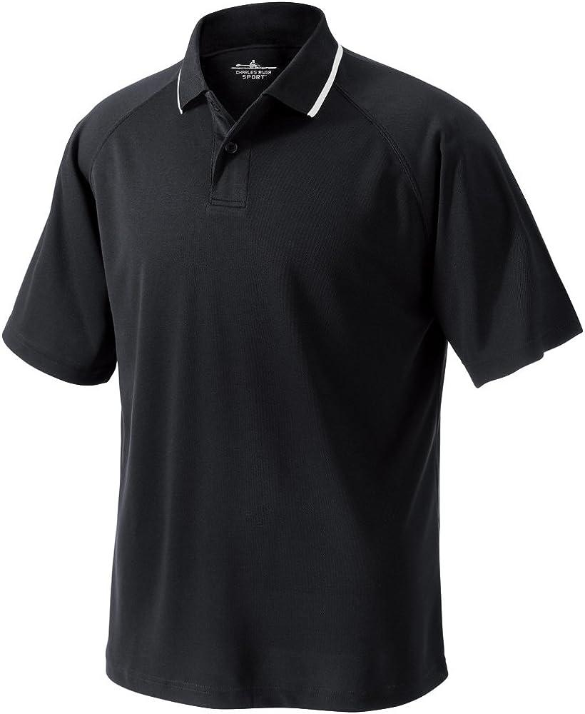 Charles River Apparel Men's Classic Wicking Polo (Regular & Big Sizes), Black, L (Tall)