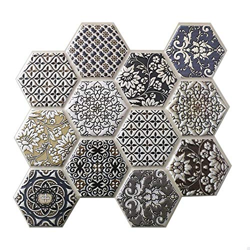 Yubingqin 10 unids Autoadhesivo Mosaico baldosas Pegatina de Pared Cocina decoración de baño decoración Vinilo Pegatinas de Pared Impermeable cáscara Palo PVC Panel (Color : 5)