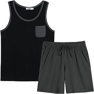 Irevial Men's 2-Piece Cotton Pyjamas with Pocket Long Pyjama Bottoms Short Two Piece Pyjamas Summer Sleepwear Loungewear