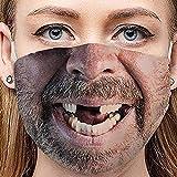 Adult Washable Funny Face Face Mask Bandana Meme Gag Gift Mouth Nose Shield (G)