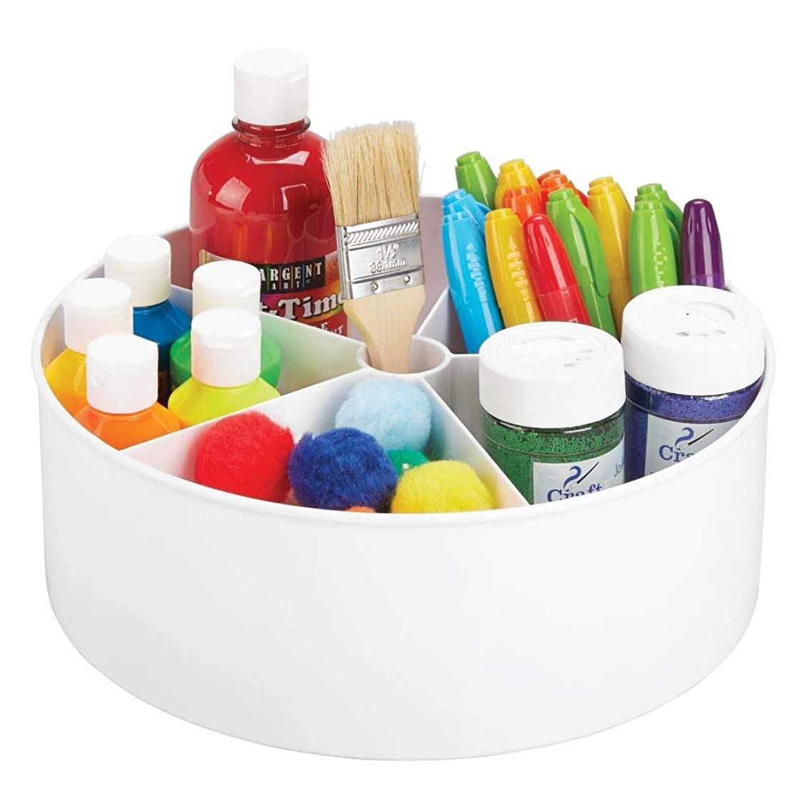 mDesign Deep Plastic Lazy Susan Turntable Storage Organizing Container - Divided Spinning Organizer for Craft, Sewing, Art, School Supplies in Home, Office, Classroom, Playroom or Studio - White