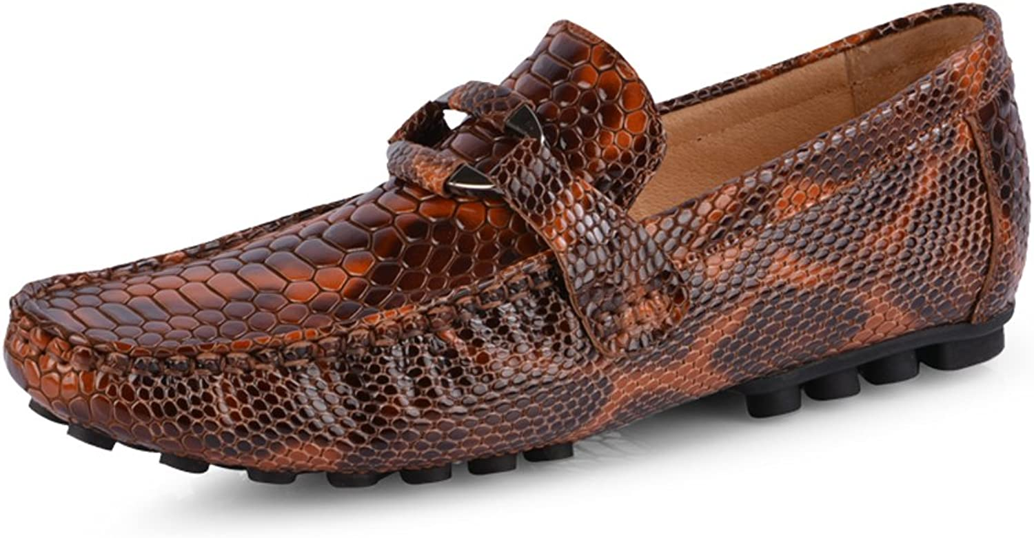 Santimon Men's Comfortable Genuine Leather Serpentinite Driving Moccasins Loafer Doug shoes