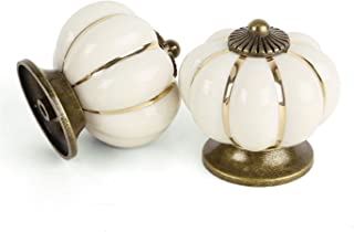 FatColo(TM) Kitchen Handles Pull Drawer Knobs Ceramic Door Cabinets Cupboard Hardware w/Screws (White Pumpkin, Pack of 4)