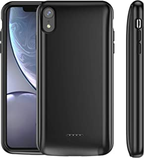 Snowpink [ Upgraded iPhone XR Battery Case Qi Wireless Charging,5000mAh Slim Support Headphones Rechargeable Extended Battery Pack Power Bank Charger Case Compatible iPhone XR -(6.1-inch) Black