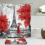 2pcs / Set patrón de la Torre EiffelLandscape Architecture Shower Curtain Set Waterproof +Non-Slip Mat Rug Home Decor-180cm W X 240cm H