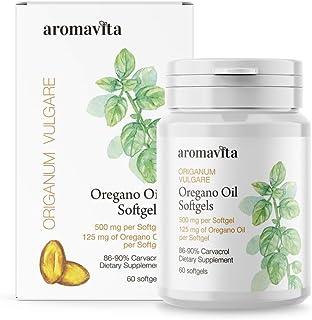 Aromavita Oregano Oil Capsules – Non GMO and Gluten Free, Greek Oregano Oil Containing 108mg Per Serving – Over 86-90% Carvacrol – Oregano Oil Dietary Supplement – 60 Softgels