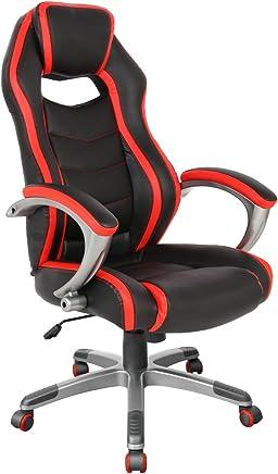 赛车风格游戏椅 符合人体工程学 办公 高背椅:电脑旋转 办公椅 带扶手,ProHT Racing Chair 5 红色