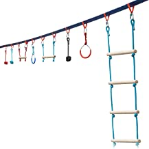 Portable 50 Foot Ninja Slackline Monkey Bar & Ladder Kit – Kids Gym Swinging Obstacle Course Set - Warrior Training Bars, Fists, Gymnastics Rings - Carry Bag & Tree Protectors