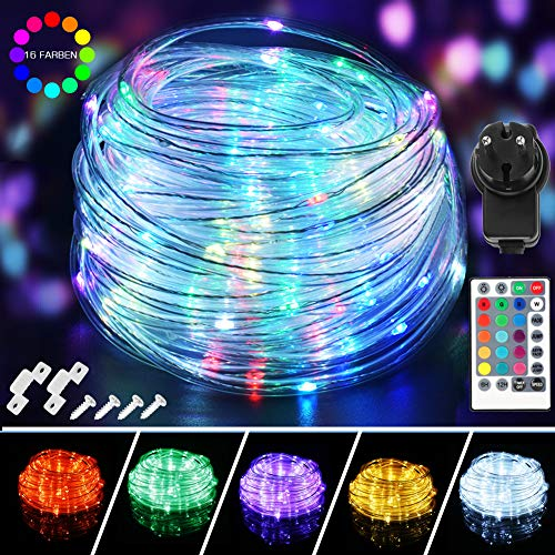 20M LED Schlauch Lichterkette Außen, 200er LED Lichtschlauch Wasserdicht IP68, 16 Farben 4 Modi Lichterkette Dimmbar, Lichterschlauch mit Fernbedienung, Memoryfunktion & Stecker für Garten, Terrasse