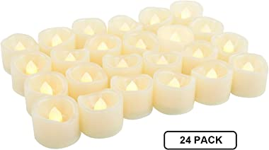 24 Pack LED Tea Lights Battery Operated Flameless Candles Fake Flickering Electric Tealight Candle Set for Home Décor Party W