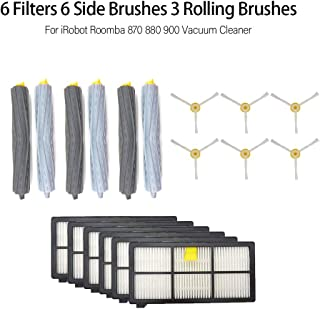 Lixada 6 Filters 6 Side Brushes 3 Rolling Brush for iRobot Roomba 870 880 900 Vacuum Cleaner