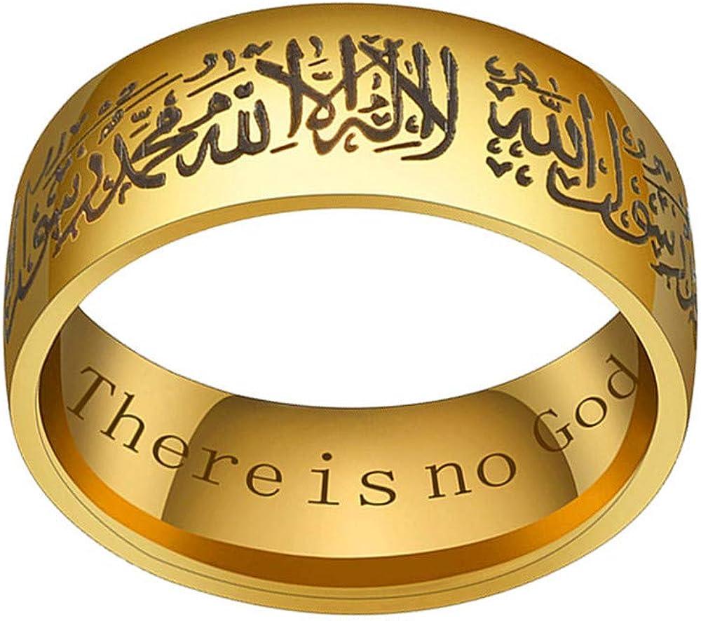 HIJONES Homme Acier Inoxydable Musulman Bague Islamique avec Shahada Arabe Anglais