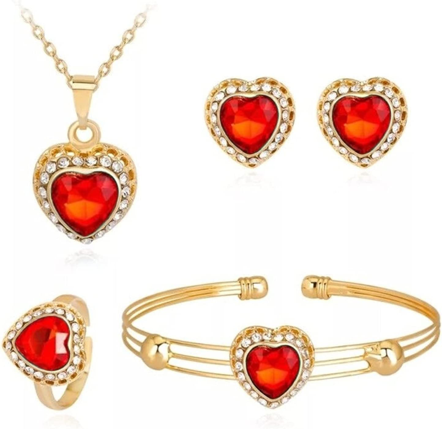 Jewelry Sets Fashion Love Heart Women Crystal Pendant Costume Wedding Sets Gold Chain Necklace Bangle Earrings Ring (Color : F1443 red)
