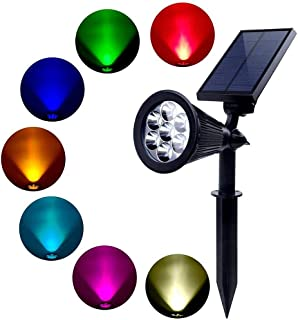 LED Solar Spot lights, Super Bright 7LED Color-Changing Outdoor Security Landscape Lamps,Auto-on At Night/Auto-off By Day,...