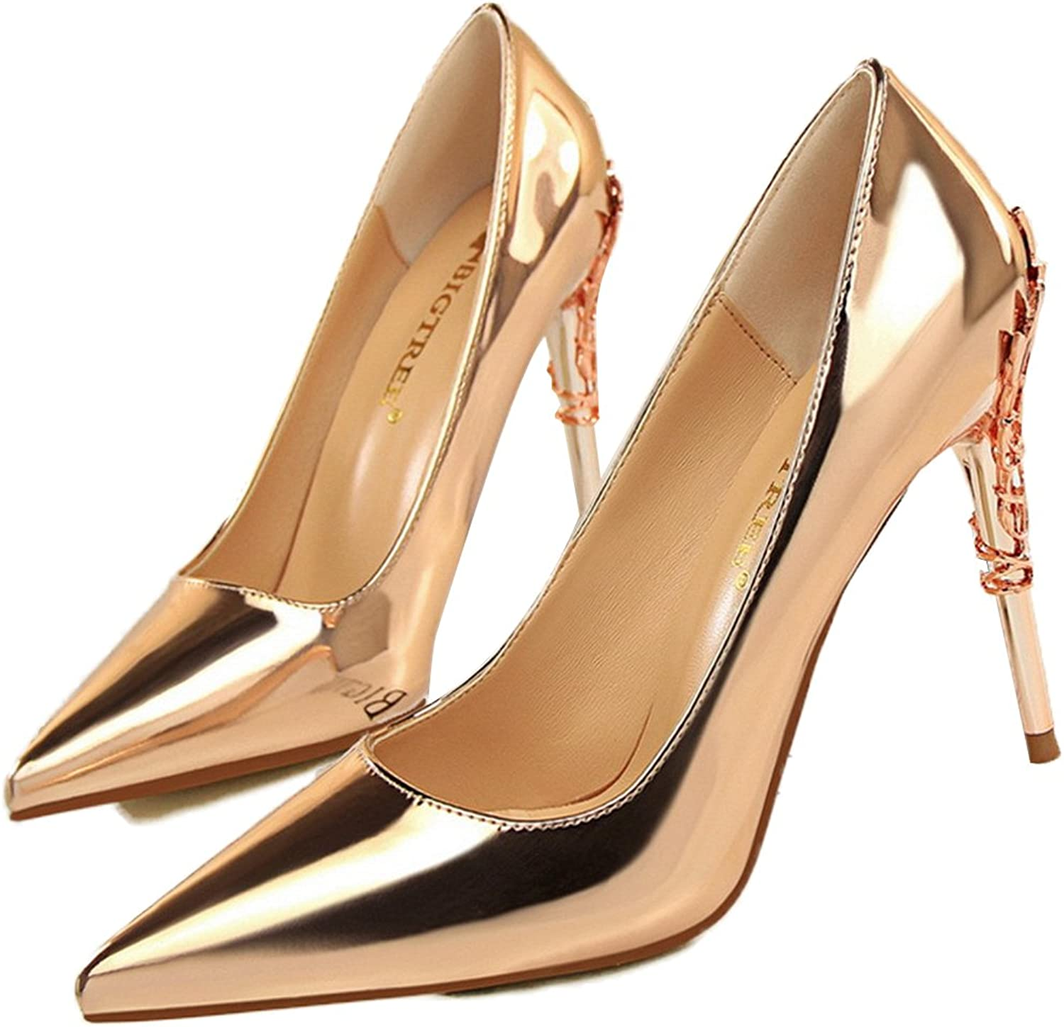 Owen Moll Women Pumps, Sexy Metal Carved Heels Solid Shallow Wedding Sandal shoes