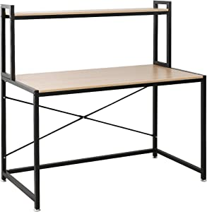 DlandHome Office Desk with Hutch 120 * 60 CM Computer Desk Gaming Table Writing Table Desk with Shelves Workstation with Storage Bookshelf for Home Office